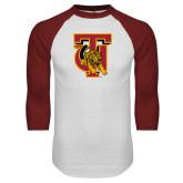 White/Cardinal Raglan Baseball T Shirt-TU Warrior Symbol