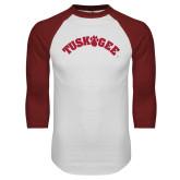 White/Cardinal Raglan Baseball T Shirt-Arched Tuskegee