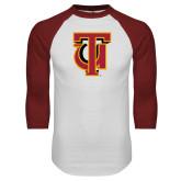 White/Cardinal Raglan Baseball T Shirt-Interlocking TU