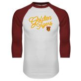 White/Cardinal Raglan Baseball T Shirt-Golden Tigers Script