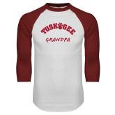 White/Cardinal Raglan Baseball T Shirt-Grandpa