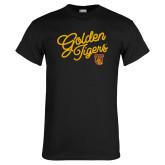 Black T Shirt-Golden Tigers Script