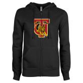 ENZA Ladies Black Fleece Full Zip Hoodie-TU Warrior Symbol