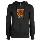 ENZA Ladies Black Fleece Full Zip Hoodie-Softball