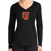 Ladies Syntrel Performance Black Longsleeve Shirt-Interlocking TU
