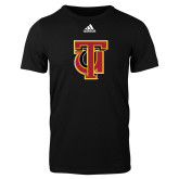Adidas Black Logo T Shirt-Interlocking TU