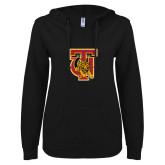 ENZA Ladies Black V Notch Raw Edge Fleece Hoodie-TU Warrior Symbol
