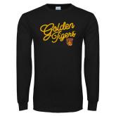 Black Long Sleeve T Shirt-Golden Tigers Script