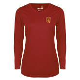 Ladies Syntrel Performance Cardinal Longsleeve Shirt-TU Warrior Symbol