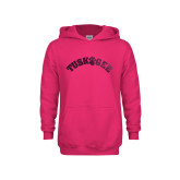 Youth Raspberry Fleece Hoodie-Arched Tuskegee Foil