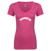 Next Level Ladies Junior Fit Ideal V Pink Tee-Arched Tuskegee