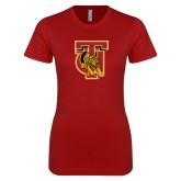 Next Level Ladies SoftStyle Junior Fitted Cardinal Tee-TU Warrior Symbol