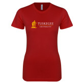 Next Level Ladies SoftStyle Junior Fitted Cardinal Tee-University Mark Flat