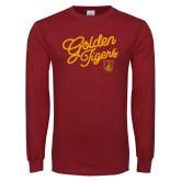 Cardinal Long Sleeve T Shirt-Golden Tigers Script