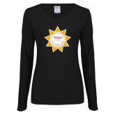 Ladies Black Long Sleeve V Neck Tee-Alumni Association