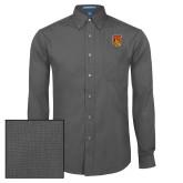 Mens Dark Charcoal Crosshatch Poplin Long Sleeve Shirt-TU Warrior Symbol