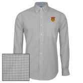 Mens Charcoal Plaid Pattern Long Sleeve Shirt-TU Warrior Symbol