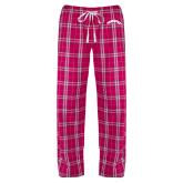 Ladies Dark Fuchsia/White Flannel Pajama Pant-Arched Tuskegee