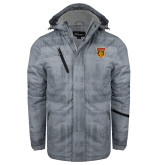 Grey Brushstroke Print Insulated Jacket-TU Warrior Symbol