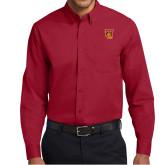 Cardinal Twill Button Down Long Sleeve-TU Warrior Symbol