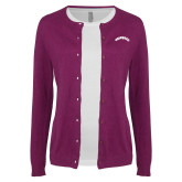 Ladies Deep Berry Cardigan-Arched Tuskegee