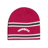 Pink/Charcoal/White Striped Knit Beanie-Arched Tuskegee
