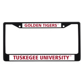 Metal License Plate Frame in Black-T - Gold Red
