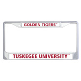 Metal License Plate Frame in Chrome-T - Gold Red