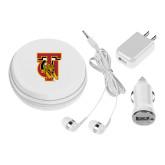 3 in 1 White Audio Travel Kit-TU Warrior Symbol