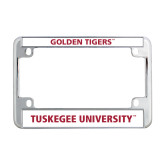 Metal Motorcycle License Plate Frame in Chrome-T - Gold Red