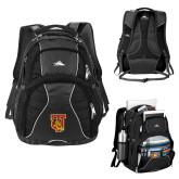 High Sierra Swerve Black Compu Backpack-TU Warrior Symbol