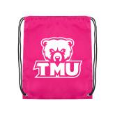 Pink Drawstring Backpack-Primary Logo