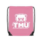 Light Pink Drawstring Backpack-Primary Logo