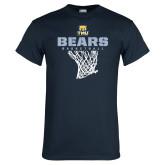 Navy T Shirt-Bears Basketball Hanging Net