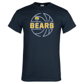 Navy T Shirt-Bears Basketball Lined Ball