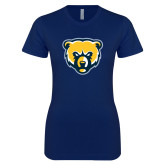 Next Level Ladies SoftStyle Junior Fitted Navy Tee-Bear Head