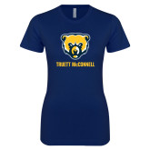 Next Level Ladies SoftStyle Junior Fitted Navy Tee-Bear Head Truett McConnell