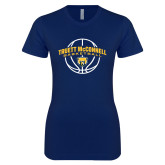 Next Level Ladies SoftStyle Junior Fitted Navy Tee-Truett McConnell Basketball Arched