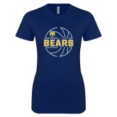 Next Level Ladies SoftStyle Junior Fitted Navy Tee-Bears Basketball Lined Ball