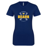 Next Level Ladies SoftStyle Junior Fitted Navy Tee-Bears Baseball Seams