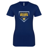 Next Level Ladies SoftStyle Junior Fitted Navy Tee-Bears Softball Plate