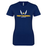 Next Level Ladies SoftStyle Junior Fitted Navy Tee-Truett McConnell Cross Country Wings