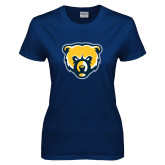 Ladies Navy T Shirt-Bear Head