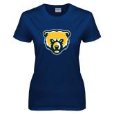 Ladies Navy T Shirt-Bear Head