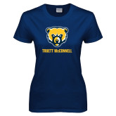 Ladies Navy T Shirt-Bear Head Truett McConnell