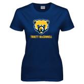 Ladies Navy T Shirt-Bear Head Truett McConnell