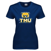 Ladies Navy T Shirt-Primary Logo Distressed
