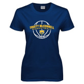Ladies Navy T Shirt-Truett McConnell Basketball Arched