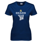 Ladies Navy T Shirt-Bears Basketball Hanging Net