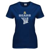 Ladies Navy T Shirt-Bears Basketball Hanging Net